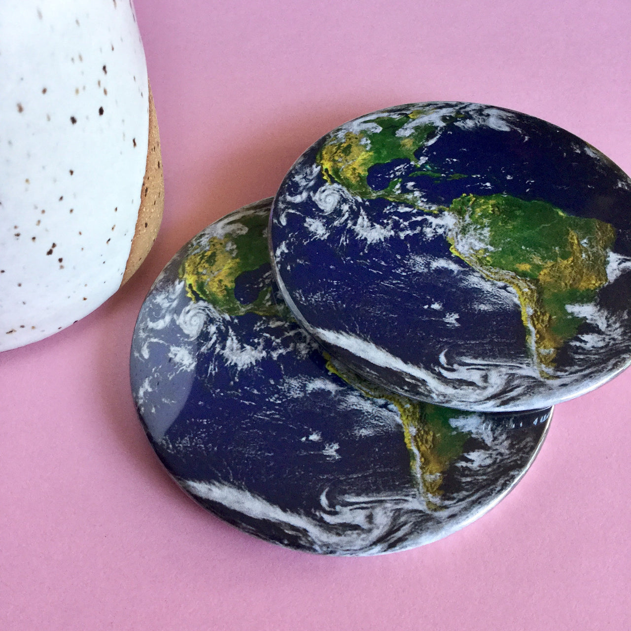 Earth coaster set / Earth drink coasters - Radical Buttons