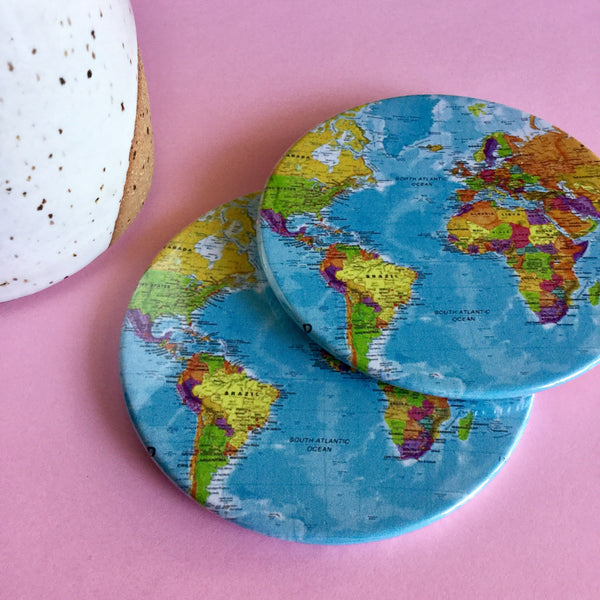 World map coaster set / World map drink coasters - Radical Buttons