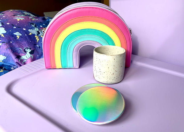 Rainbow holographic coasters