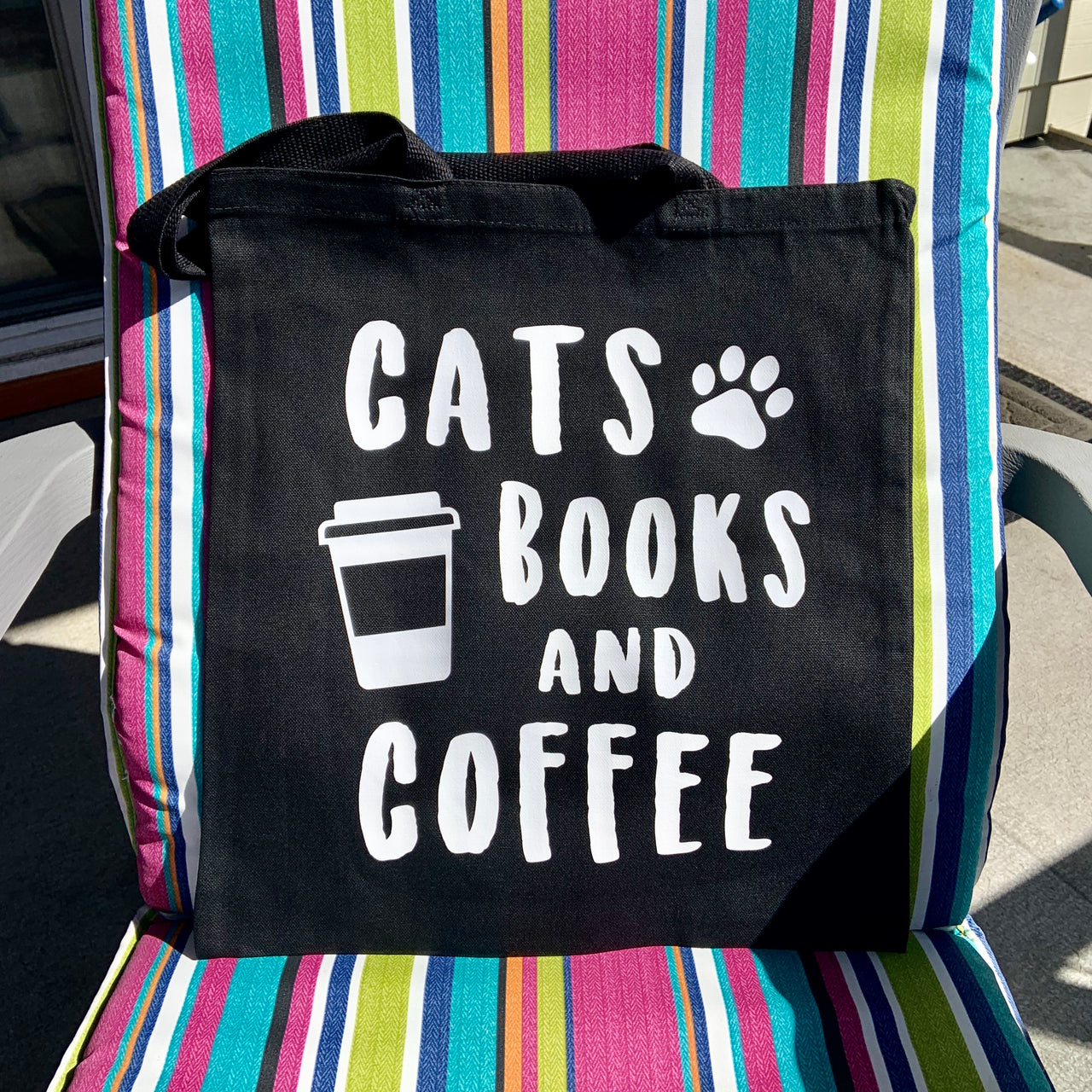Cats books and coffee tote bag - Radical Buttons