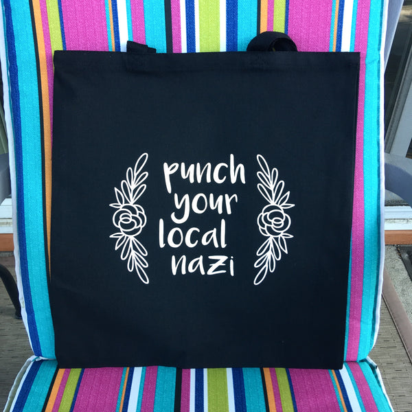 Punch your local Nazi tote bag - Radical Buttons