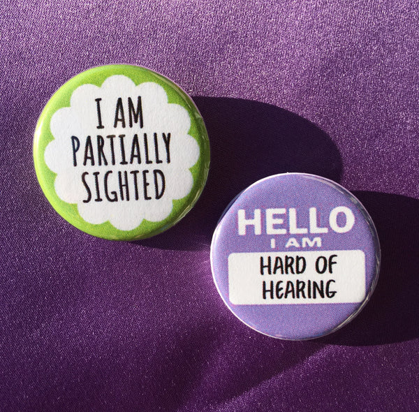 I am partially sighted / Hello I am hard of hearing - Radical Buttons
