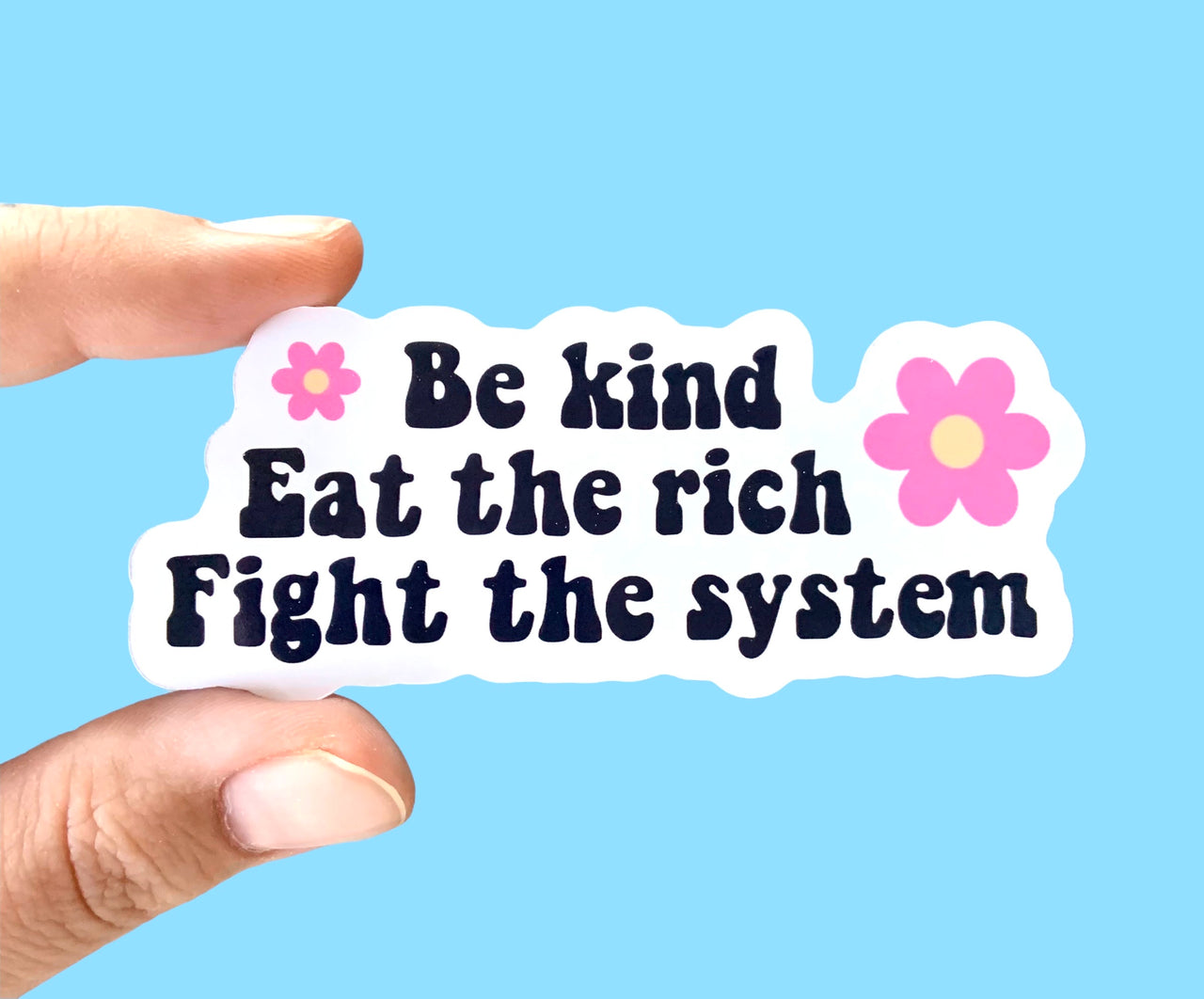 Be kind Eat the rich Fight the system (pack of 3 or 5 stickers)