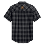 Harley-Davidson Flaming Skull Patch Men's Plaid Shirt