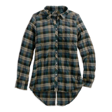 Harley-Davidson Split Back Wrinkled Women's Plaid Shirt