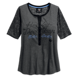 Harley-Davidson Mesh Lace Accent Women's Henley