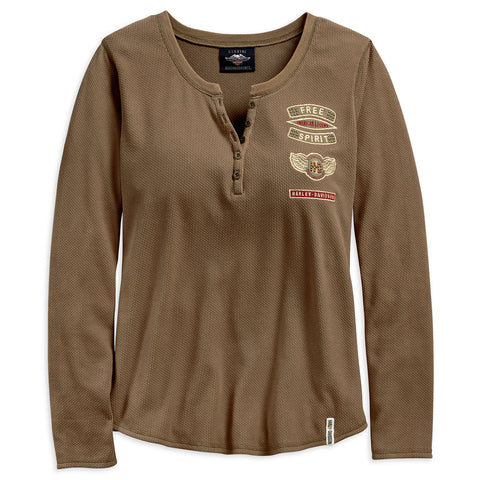 Harley-Davidson Winged H-D Women's Henley (Regular)