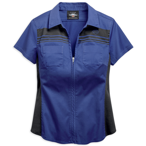 Harley-Davidson Zip-Front Chest Stripe Women's Shirt