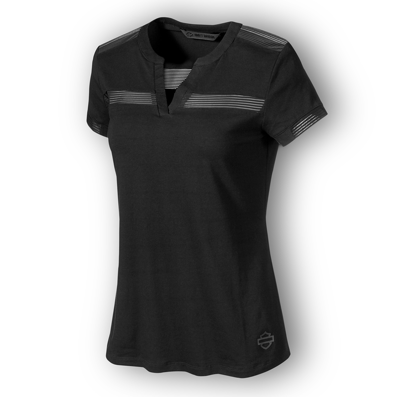 Harley-Davidson Striped Mesh Accent Women's Tee