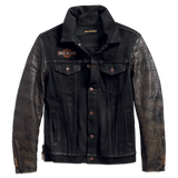 Harley-Davidson Leather Sleeve Men's Denim Jacket