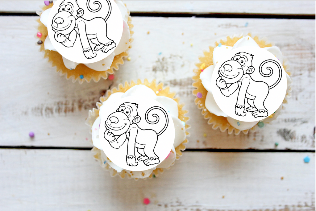 Monkey Colour-me-in cake toppers