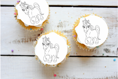 Unicorn Colour-me-in cake toppers
