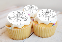 Clown Colour-me-in cake toppers