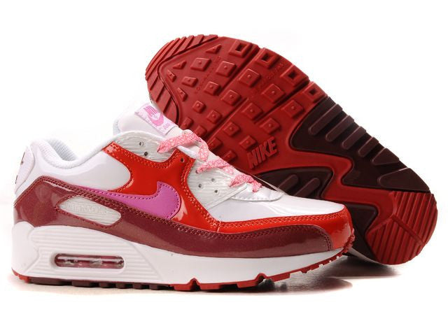 Womens Nike Air Max 90 Trainers Deep Red/Pink/White/Red ...