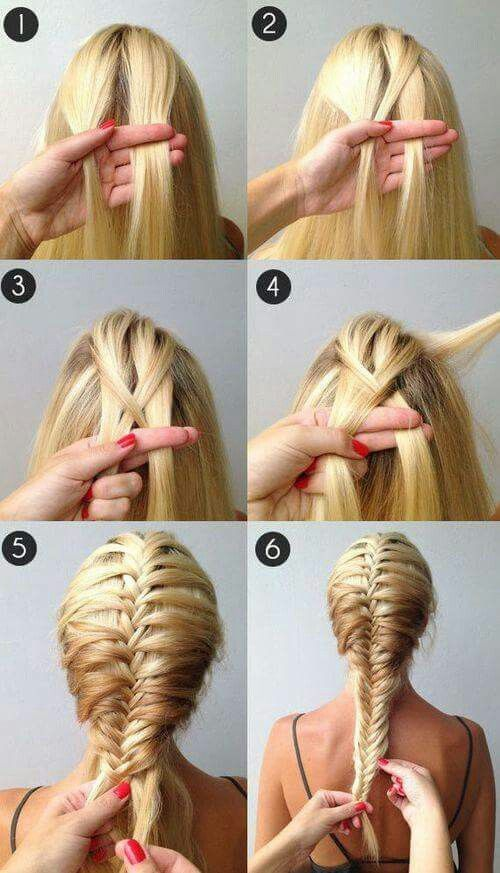 A beautiful French fishtail braid! So easy it takes a while to get the hang of it but super cute!✋