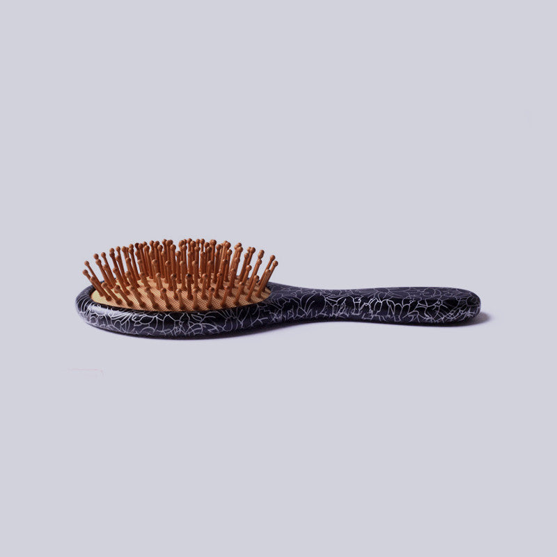 Wooden Paddle Detangler Black - KINGHAIR