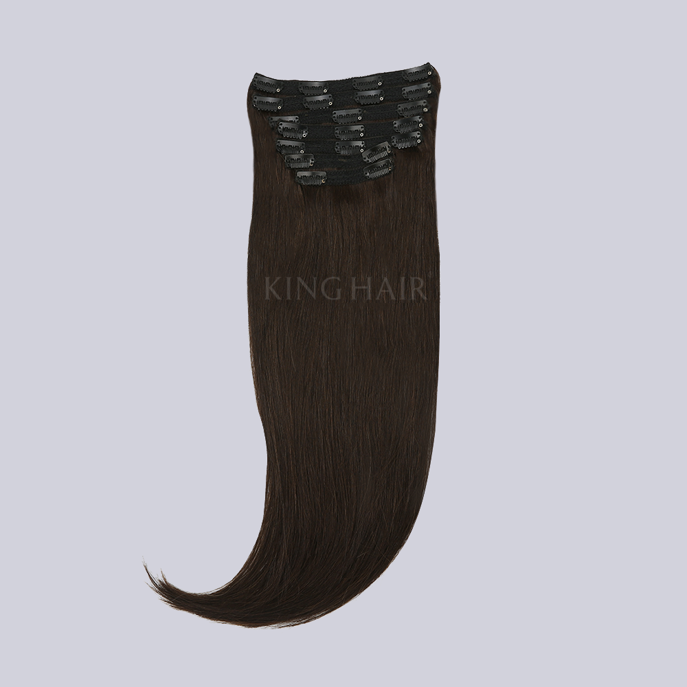 22 Inches Dark Brown(#2) Remy Clip In Hair Extensions