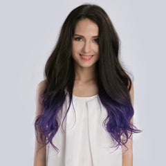 20 Inches Ombre#1B/Violet Remy Clip In Hair Extensions - KINGHAIR