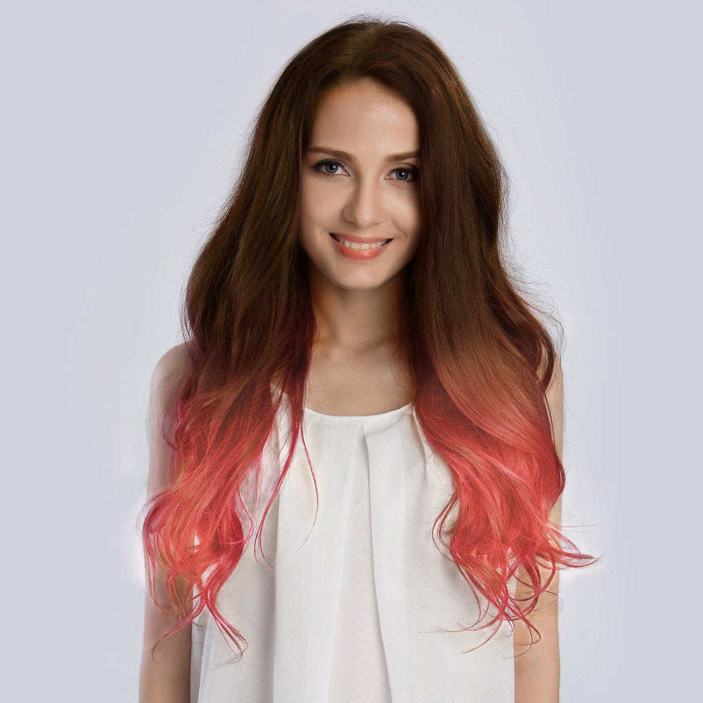 20 Inches Ombre4pastel Pink Remy Clip In Hair Extensions