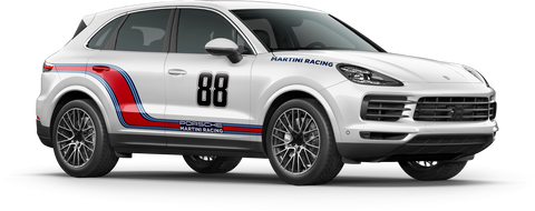 Curved Martini Racing Stripes - Cayenne