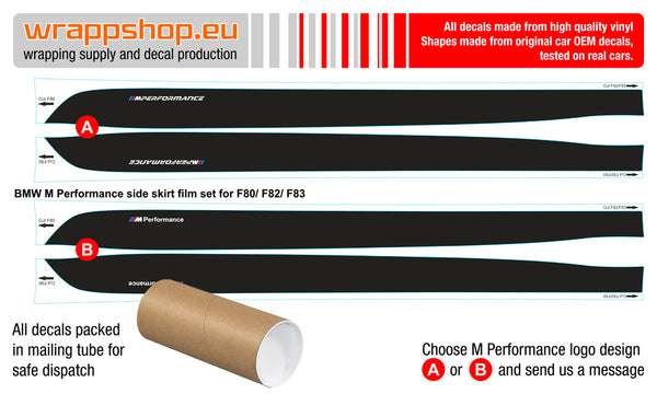 BMW M Performance Set of Side Stripes for BMW M Performance m3 f80 f82 f83 - WRAPPSHOP.EU
