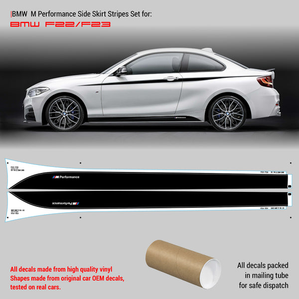 BMW M Performance Side Skirt Set of Stripes for series 2 F20/F21/F22/F23 - WRAPPSHOP.EU | Car Decals, Stripes, Vinyls