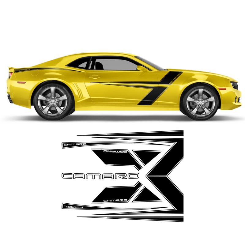T-Stripes Side Graphic for Chevrolet Camaro 2010 - 2015 black