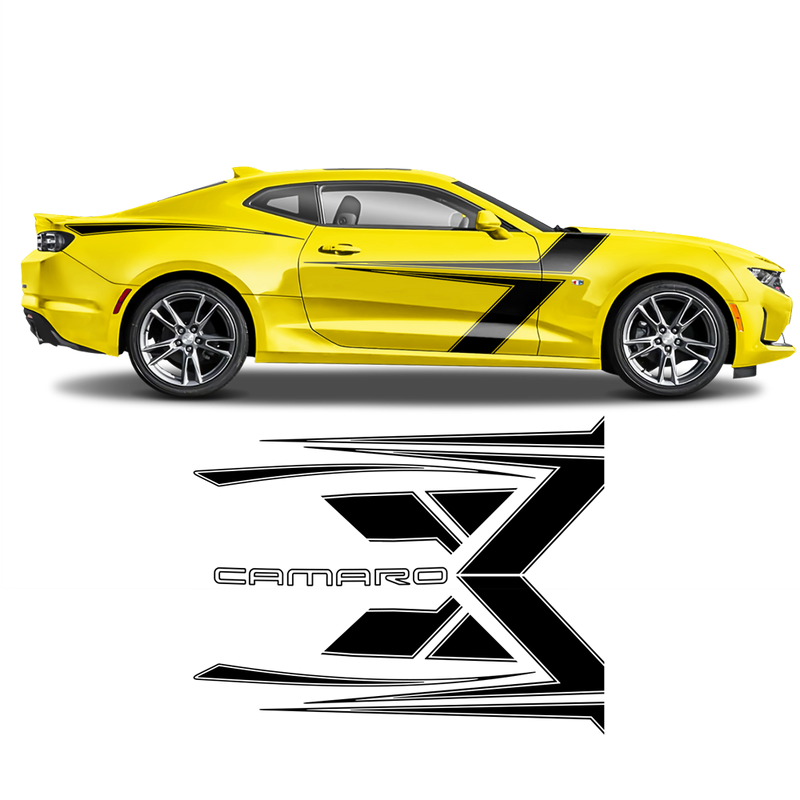 T-Stripes Side Graphic for Chevrolet Camaro 2016 - 2020 black