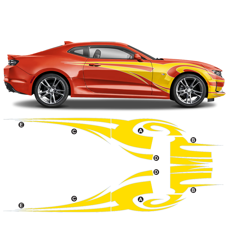 Contoured TRIBAL Side Graphic for Chevrolet Camaro 2010 - 2020