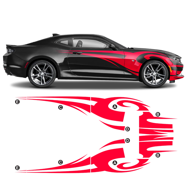 TRIBAL Side Graphic in one color for Chevrolet Camaro 2010 - 2020 black