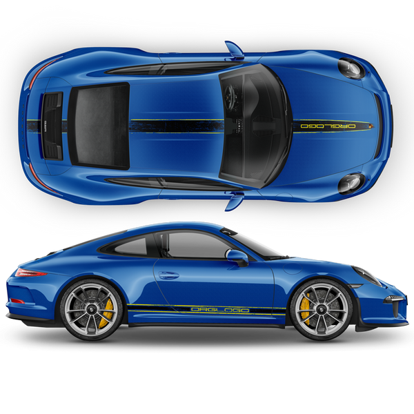Scratched Two Colors Racing Stripes set for Porsche Carrera