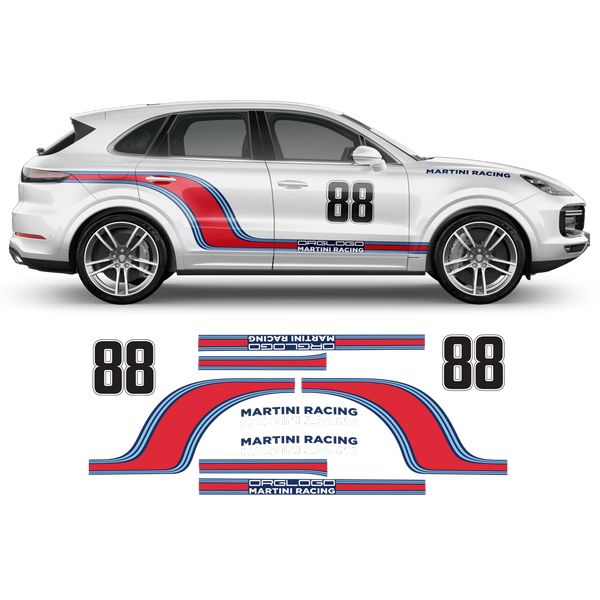 Curved Martini Racing Side Stripes for Porsche Cayenne