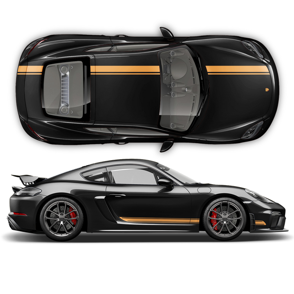 Asymmetrical Racing Stripes set, Cayman / Boxster 2005 - 2018 black