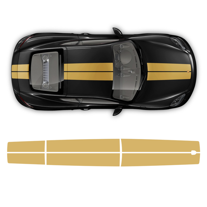 Exclusive Series Double Stripes Over The Top for Cayman / Boxster black