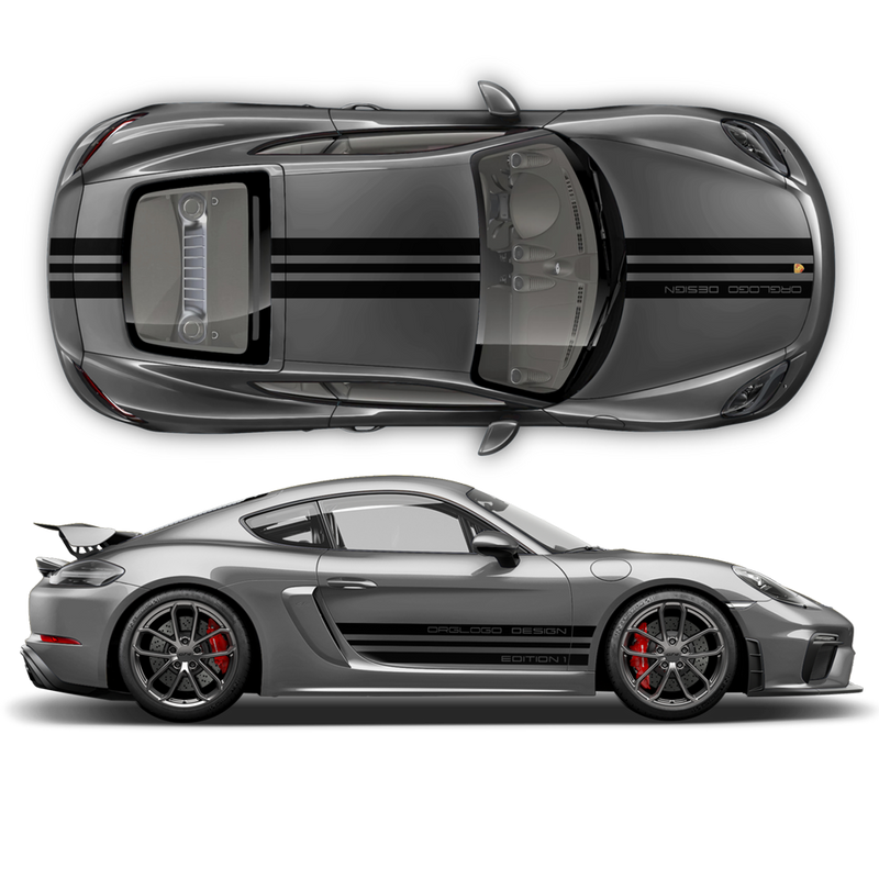 Porsche Design Edition 1 Racing stripes set, Cayman / Boxster 2005 - 2020 black