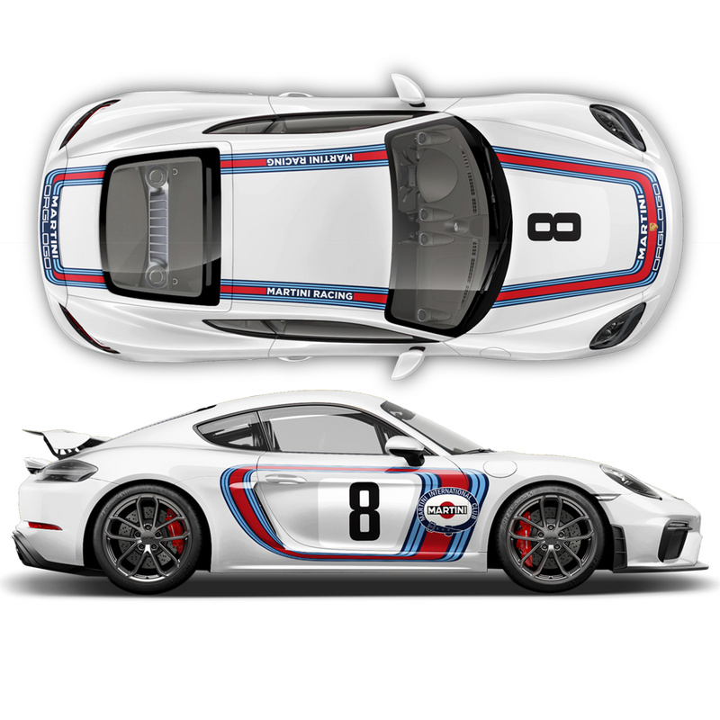 RETRO STYLE MARTINI RACING STRIPES SET, for CAYMAN / BOXSTER 2005 - 2021