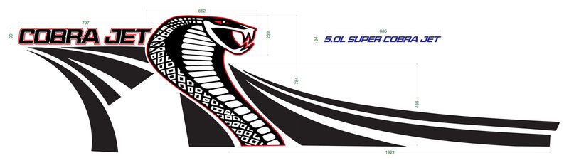 Ford Mustang 2005 - 2014 COBRA JET Side Graphic Decals Set