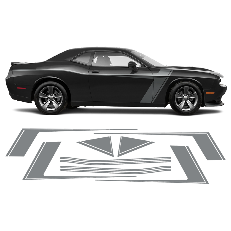 Accent Side Stripes Graphic, Dodge Challenger 2011 - 2020 black