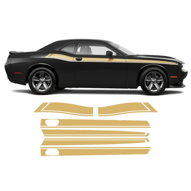 Short Side Stripes in One Color for Dodge Challenger 2011 - 2020 black