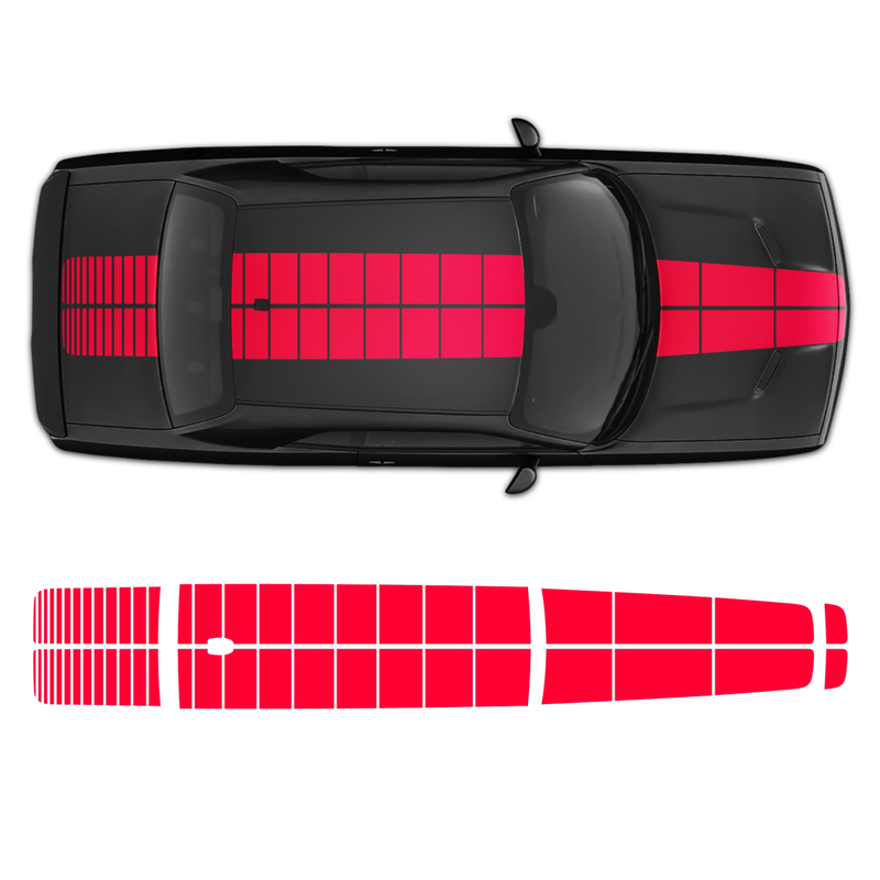 PULSE Rally Top stripes for Hood/Roof/Trunk, Dodge Challenger 2009 - 2018 black