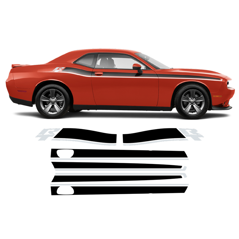 R / T Short side stripes two colors for DODGE Challenger 2011 - 2020