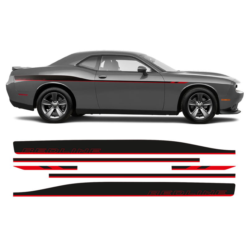 REDLINE Side Stripes, Dodge Challenger 2011-2020 black matt red gloss
