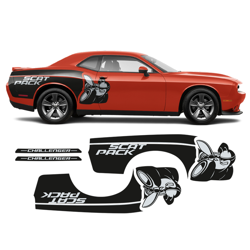 SCAT PACK rear fender graphics two colors, for Dodge Challenger 2008 - 2020