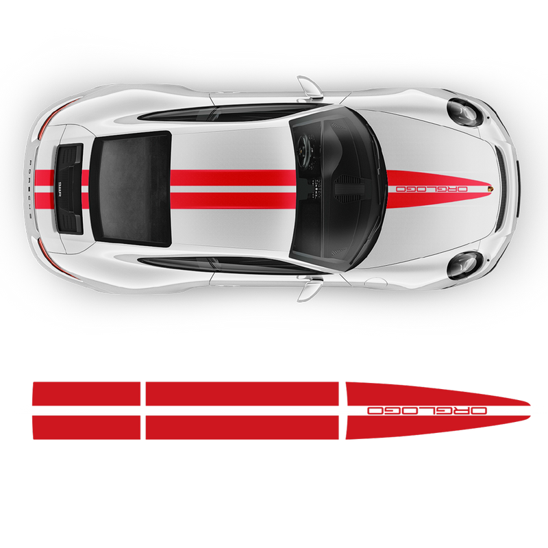 Porsche Dual Racing Stripes Over The Top for Carrera / Cayman / Boxster