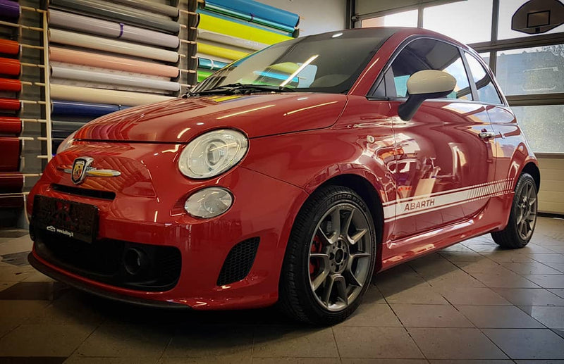 Fiat 500 Abarth side stripe graphics decal - WRAPPSHOP.EU | Car Decals, Stripes, Vinyls