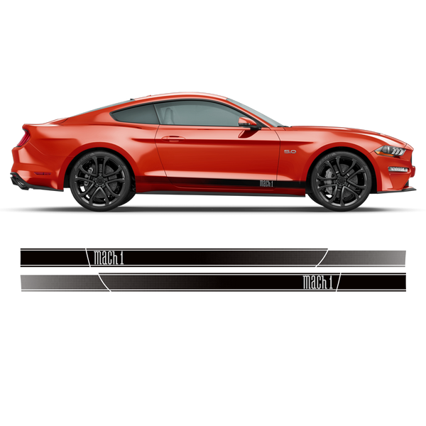 MACH1 faded rocker stripes, for Ford Mustang 2015 - 2020