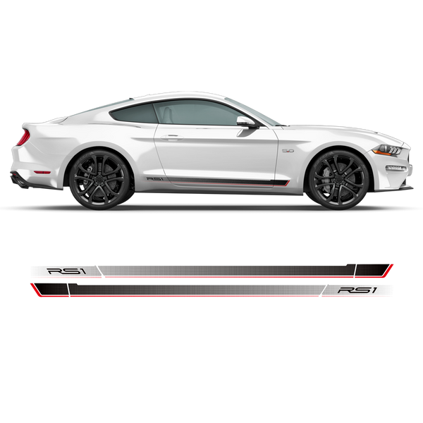 Roush RS1 / RS2 / RS3 faded rocker stripes for Ford Mustang 2015 - 2019