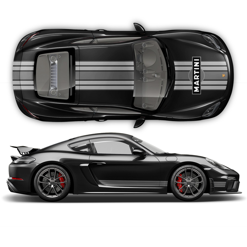Martini Racing stripes for Cayman / Boxster Martini Grayscale