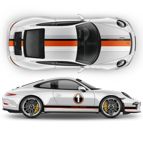 LE MANS RACING STRIPES graphic decals set for Porsche Carrera / Cayman / Boxster