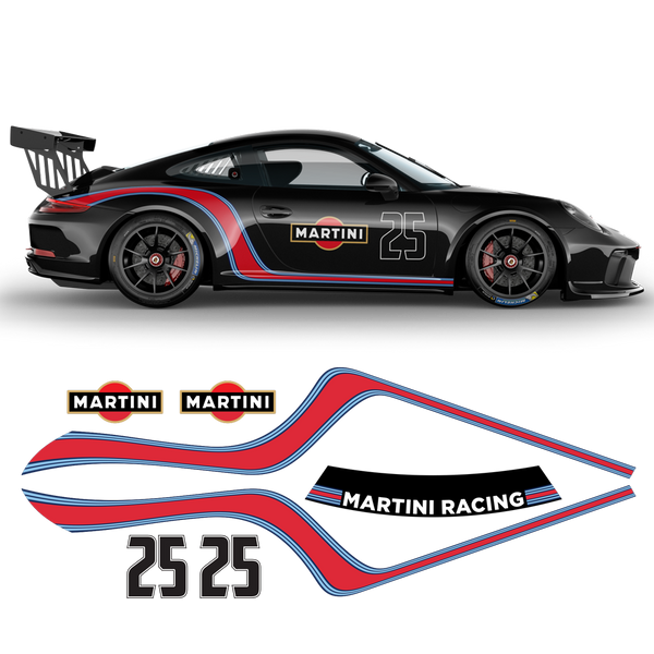 Curved Martini Side Stripes Graphic, Porsche Carrera / Carrera Turbo / Targa 2005 - 2021